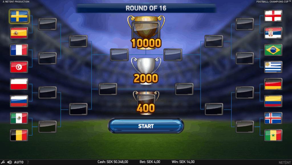 Champions Cup videoslot rangenlijst