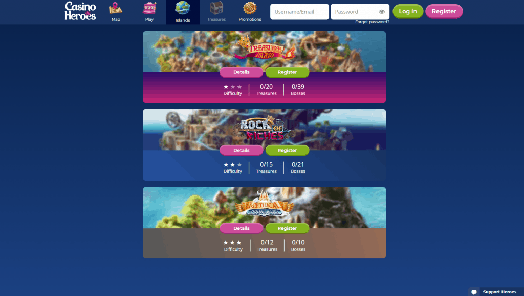 Casino Heroes islands