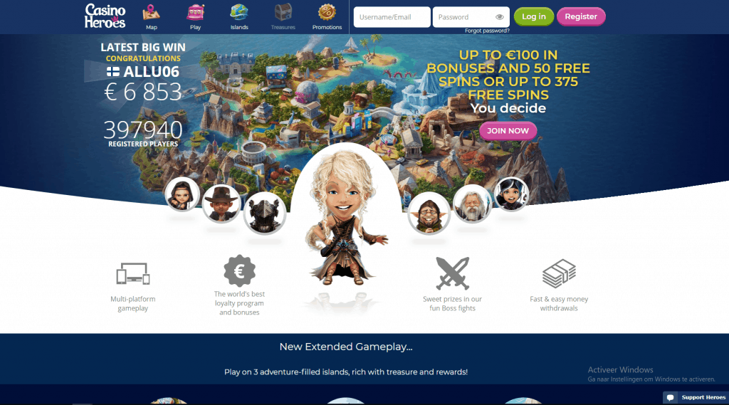 Casino Heroes screenshot homepage