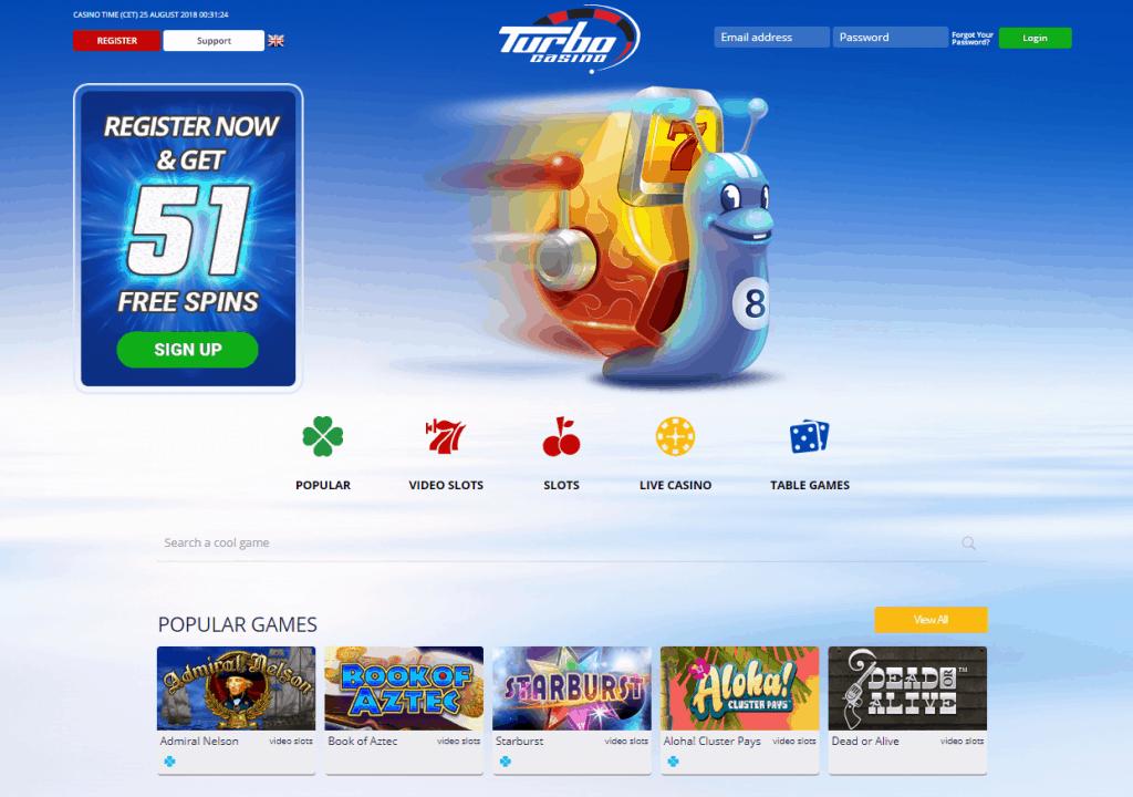 Turbo Casino homepage