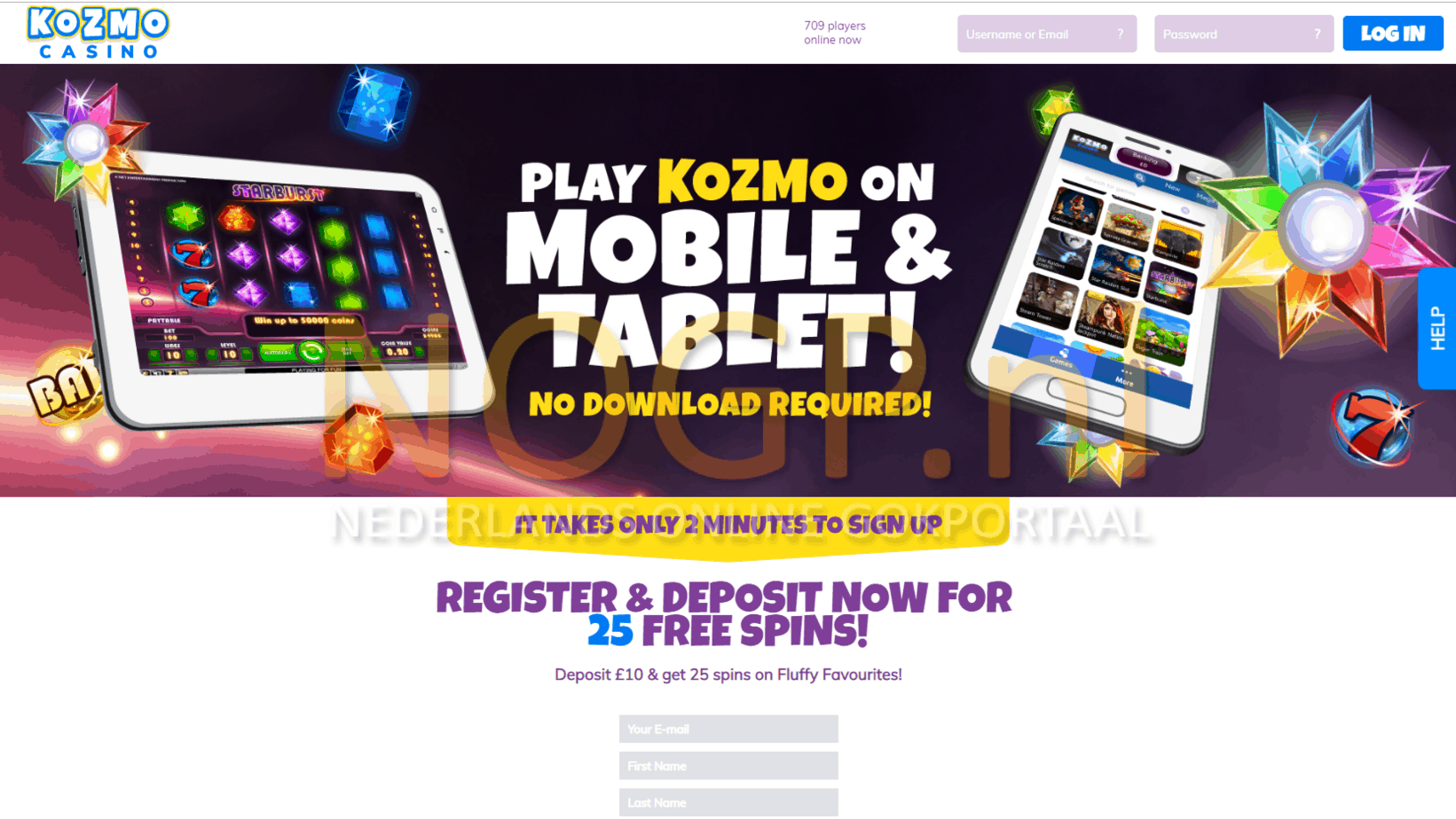Kozmo Casino homepage screenshot