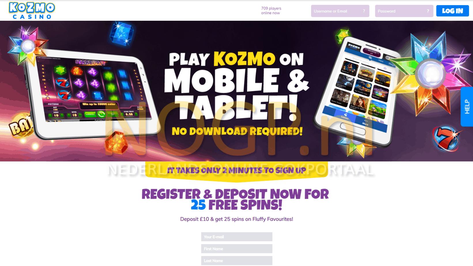 Kozmo Casino homepage screenshot