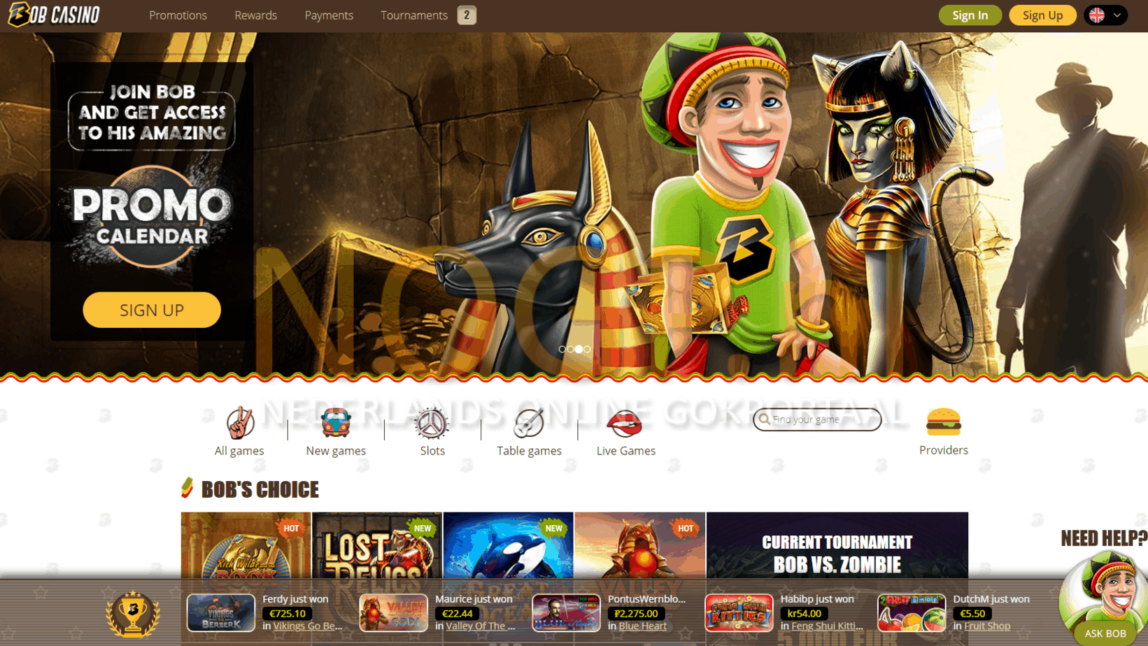 Bob Casino screenshot homepage