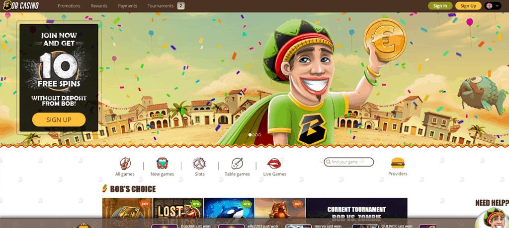 Een screenshot van Bob Casino