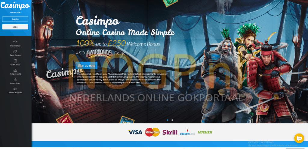 Casimpo Casino homepage