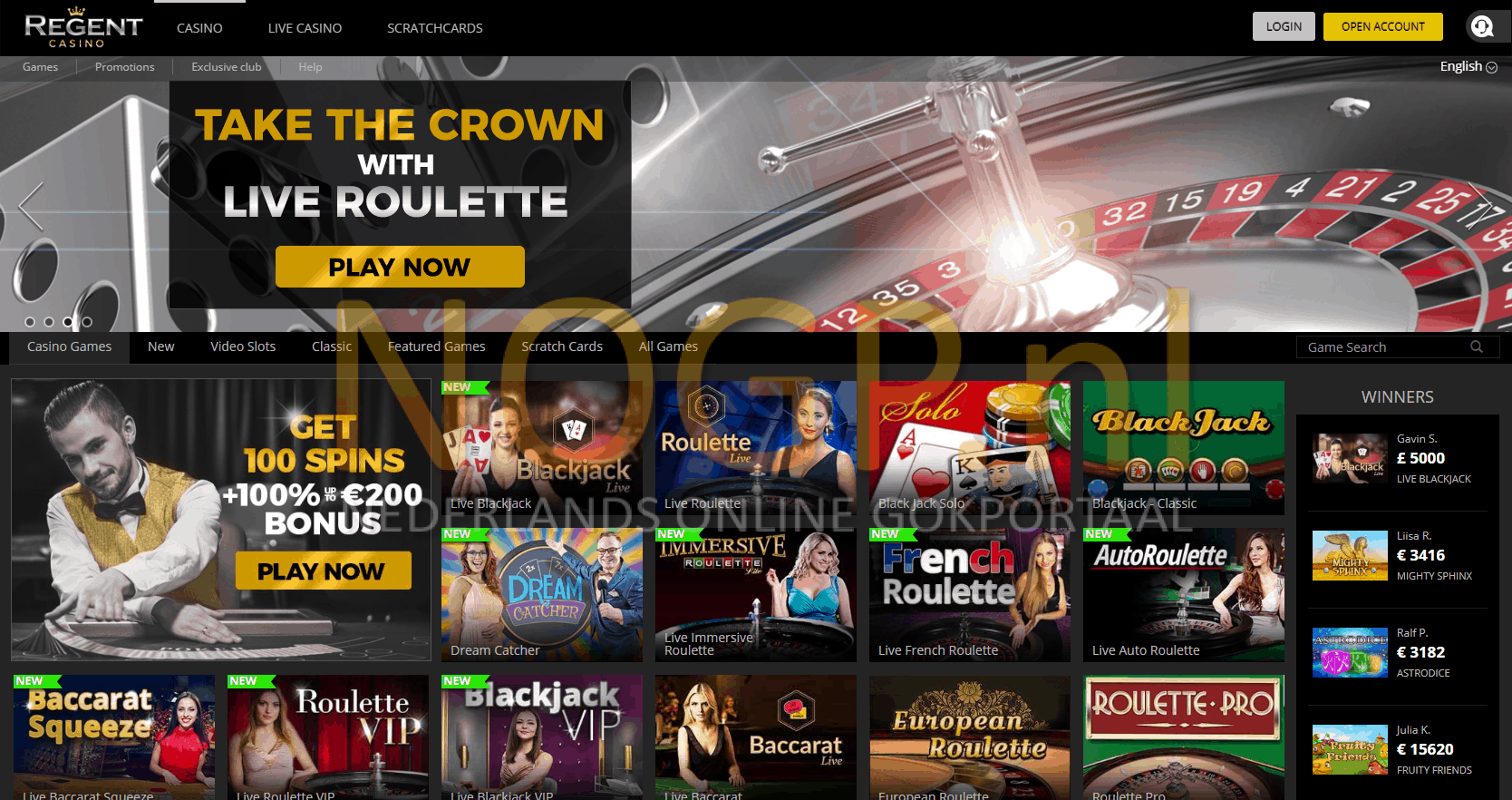 Regent Casino screenshot van homepage