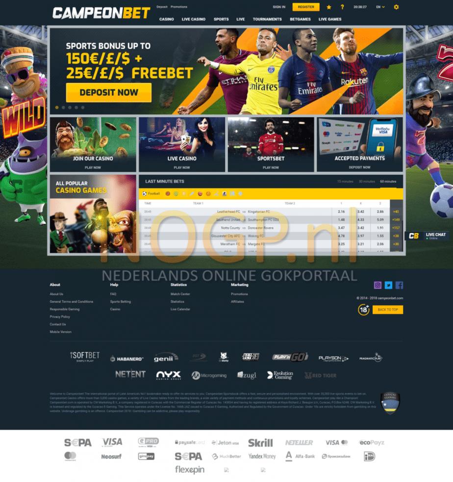 CampeonBet homepage screenshot