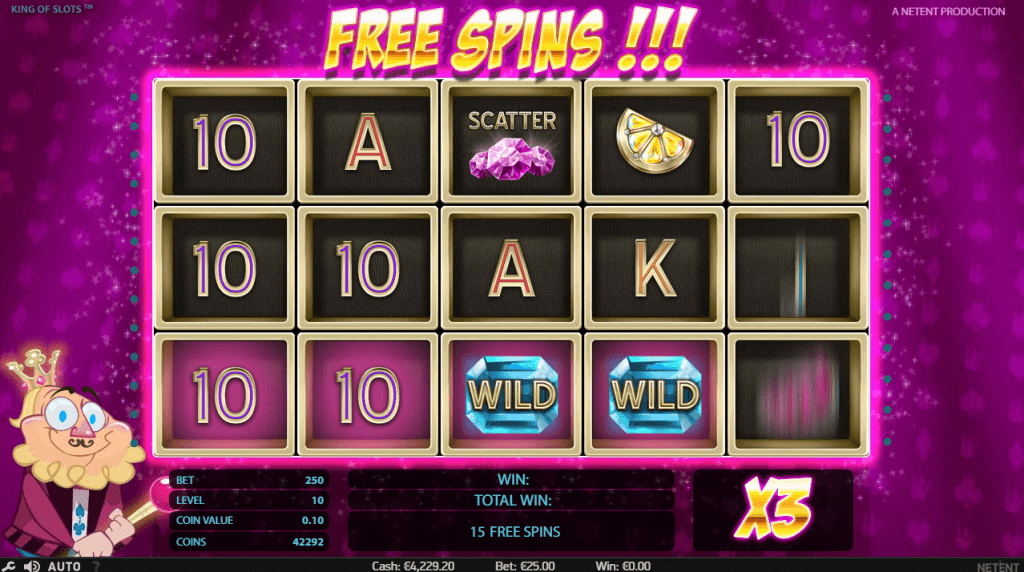 King of Slots slot gratis spin feature