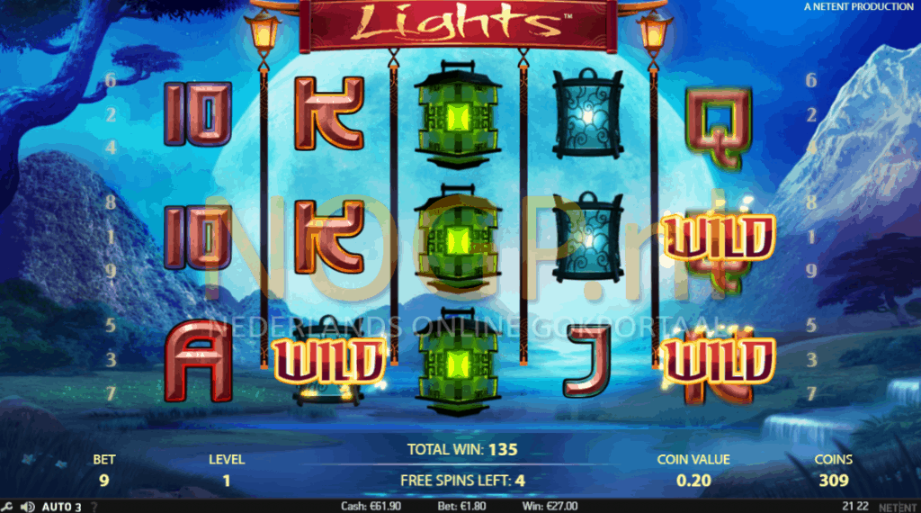 Lights video slot - Gratis spins feature