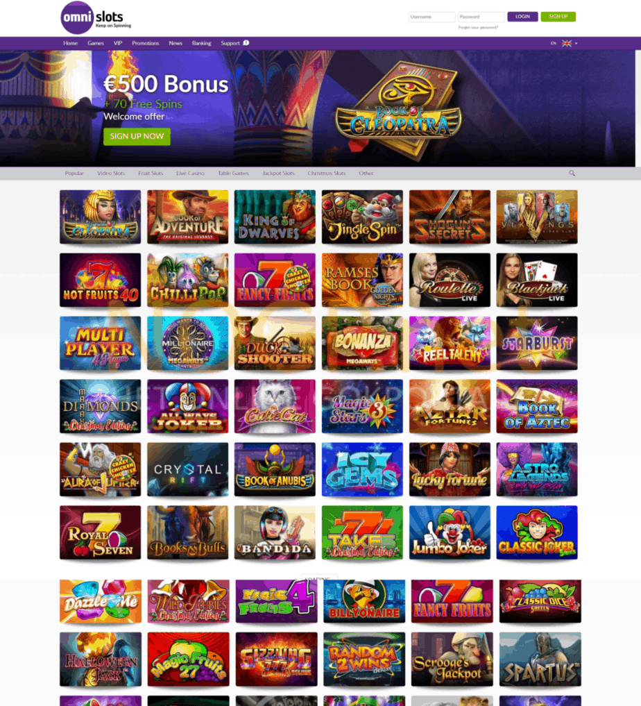 Omni Slots Casino homepage screenshot