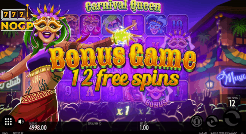 Carnival Queen gratis spins feature