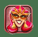 Carnival Queen video slot gokkast - Rode character symbool