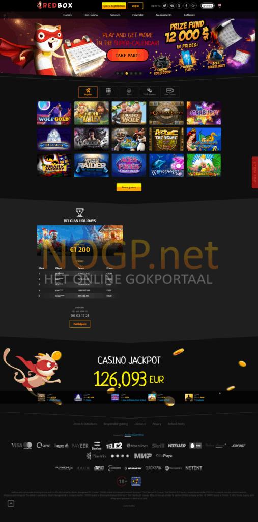 Redbox Casino screenshot homepage donker