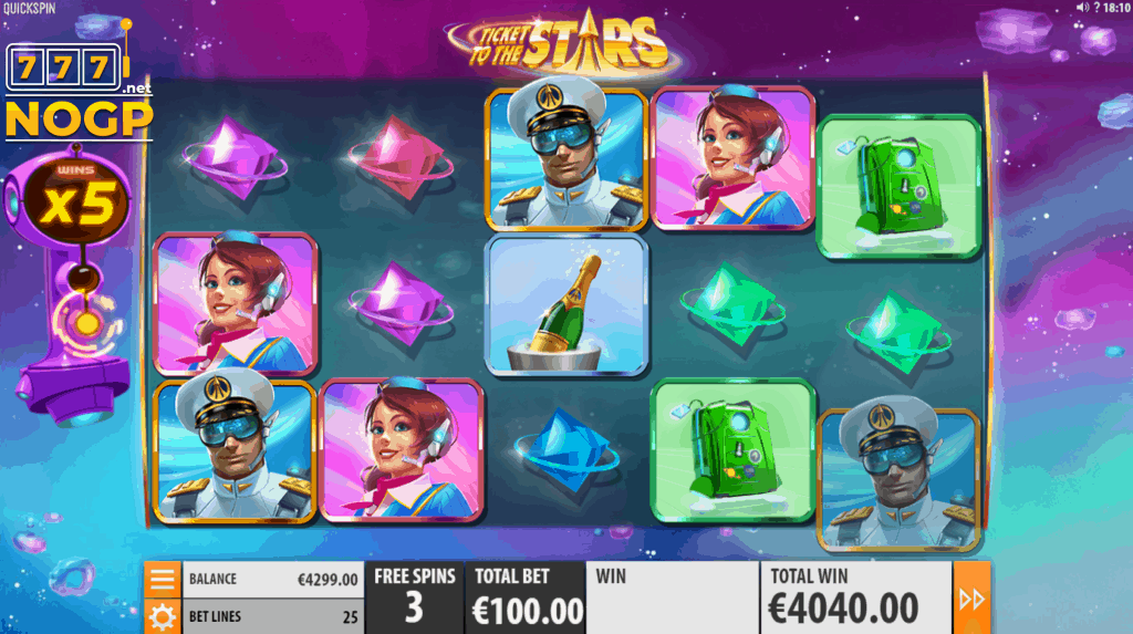 Ticket to the Stars gokkast gratis spins fieature