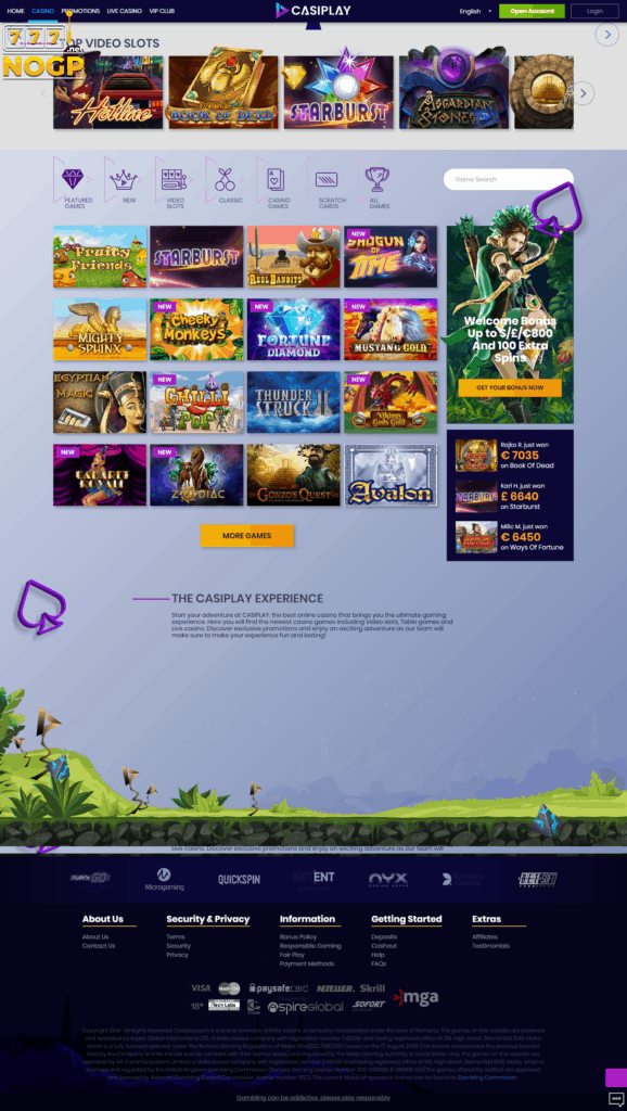 Casiplay Casino slots screenshot