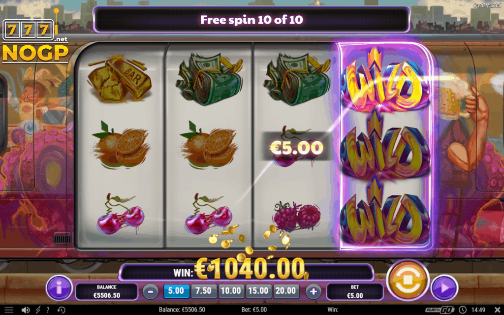 Cash Vandal video slot Londen gratis spins feature