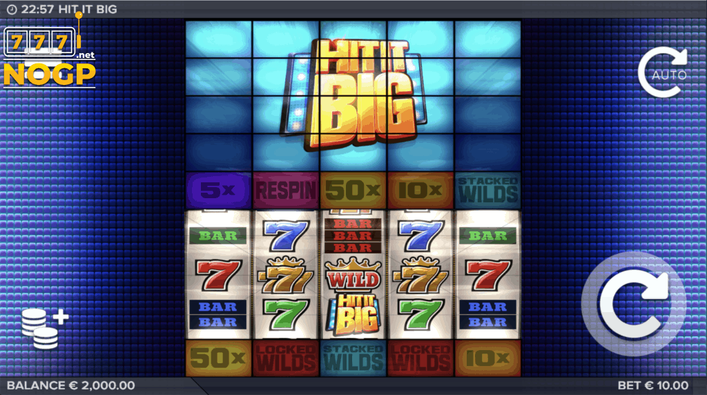 Hit It Big video slot screenshot basisspel