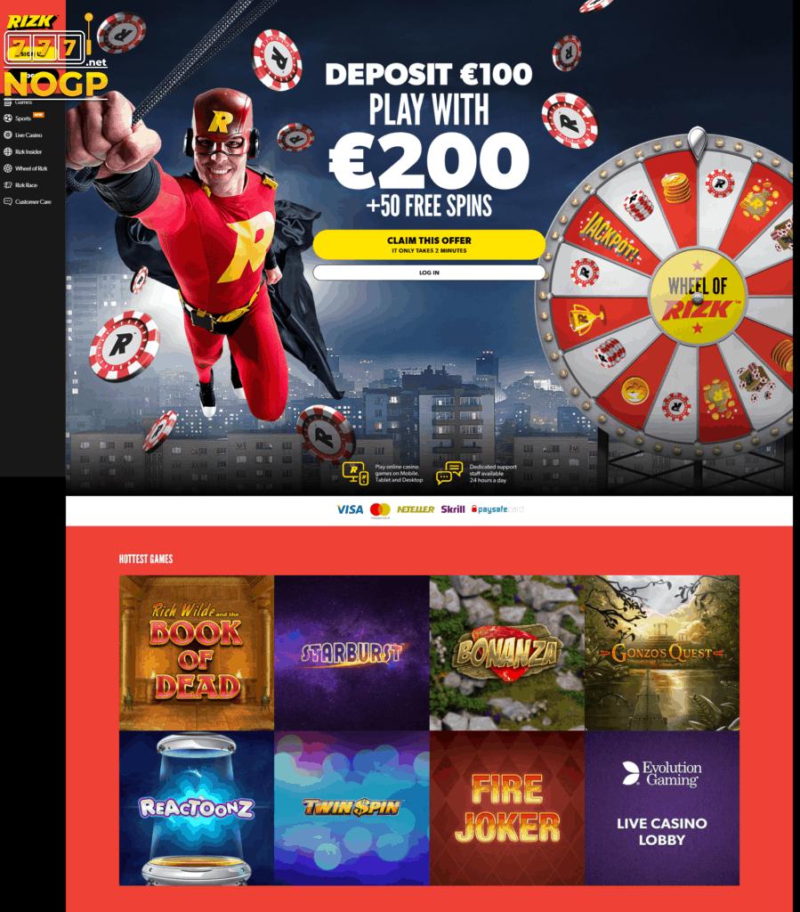 Rizk homepage