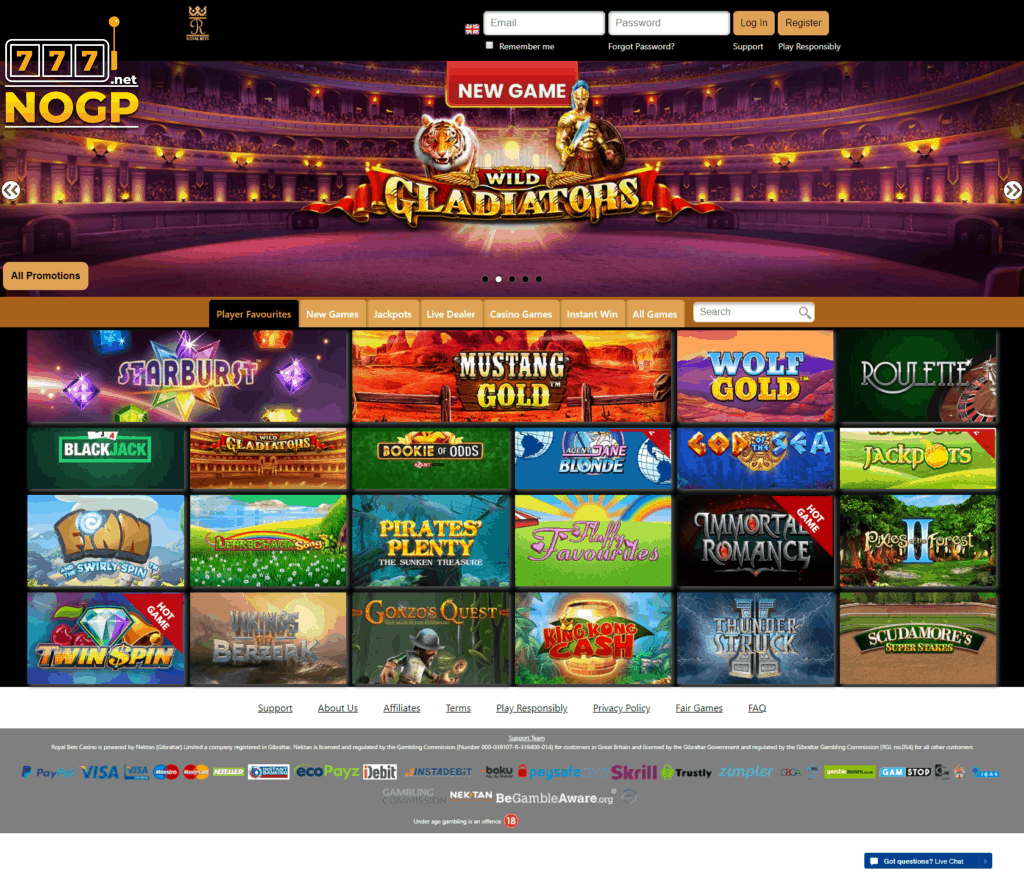 Royal Bets Casino desktop homepage
