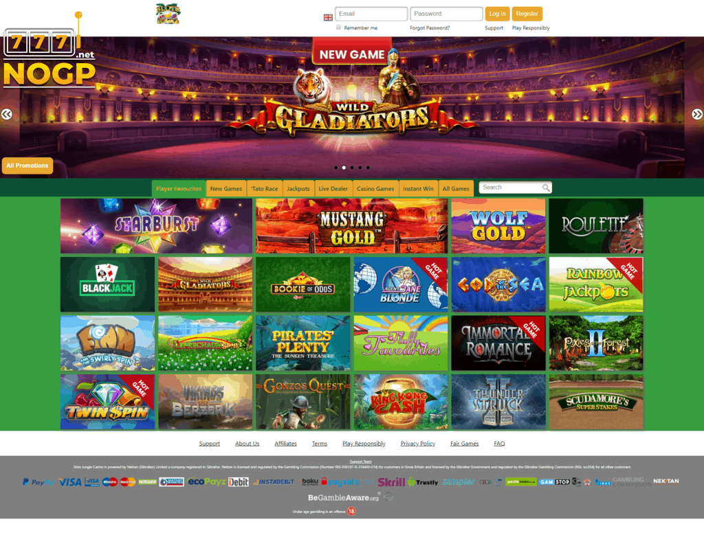 Slots Jungle Casino screenshot homepage desktop