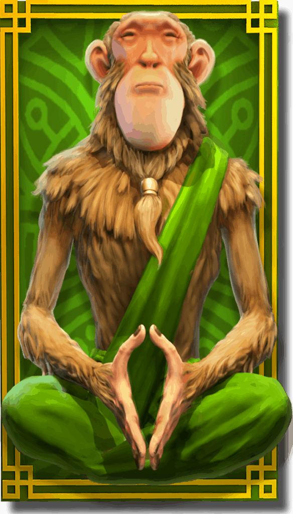 The Legend of Shangri-La Cluster Pays slot - Monkey Guru symbol