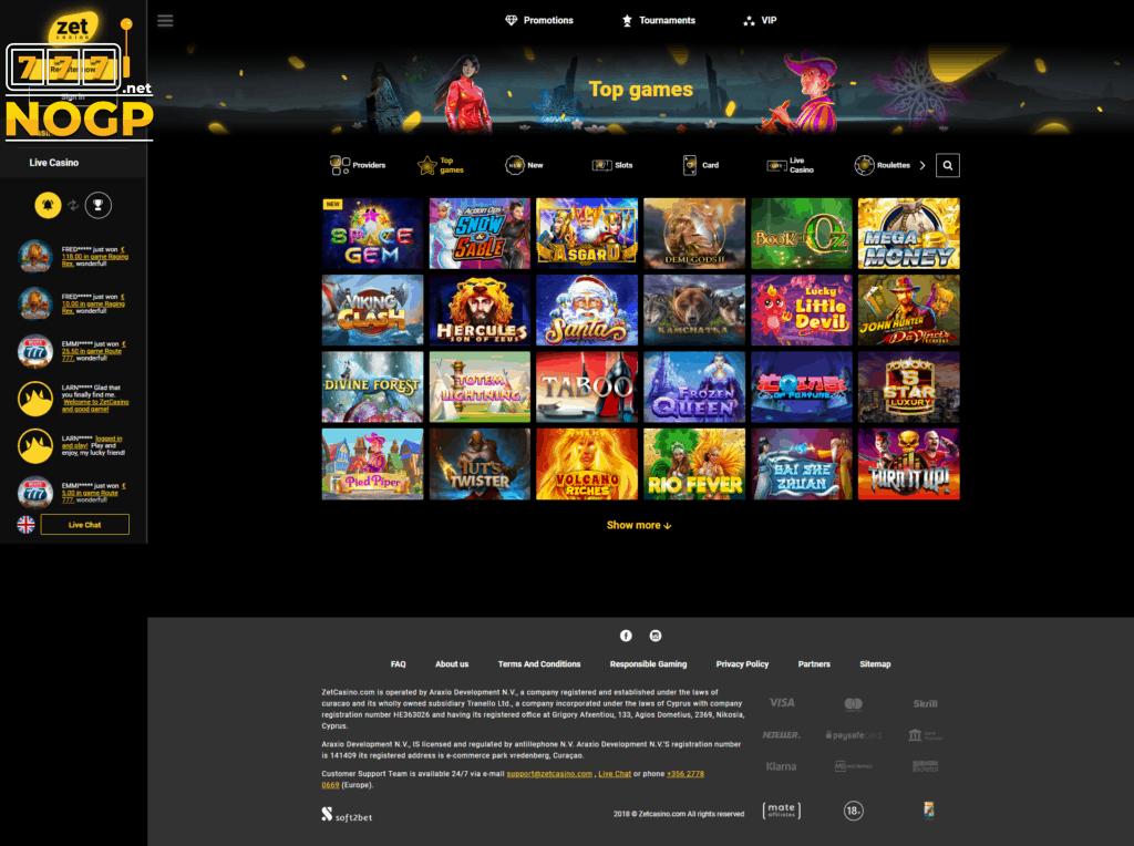 Zet Casino casino spellen