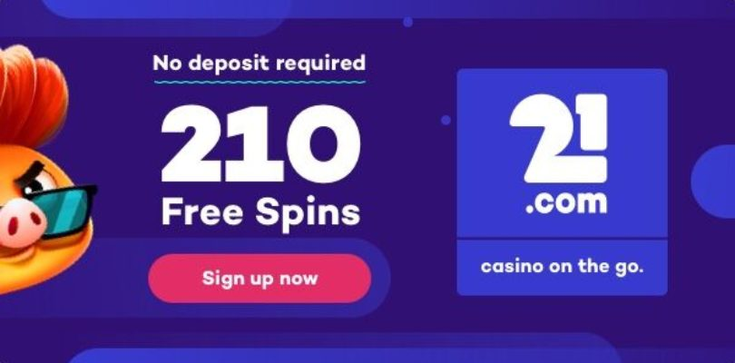 21.com: Begin april 2019 met 210 gratis spins zonder storting.