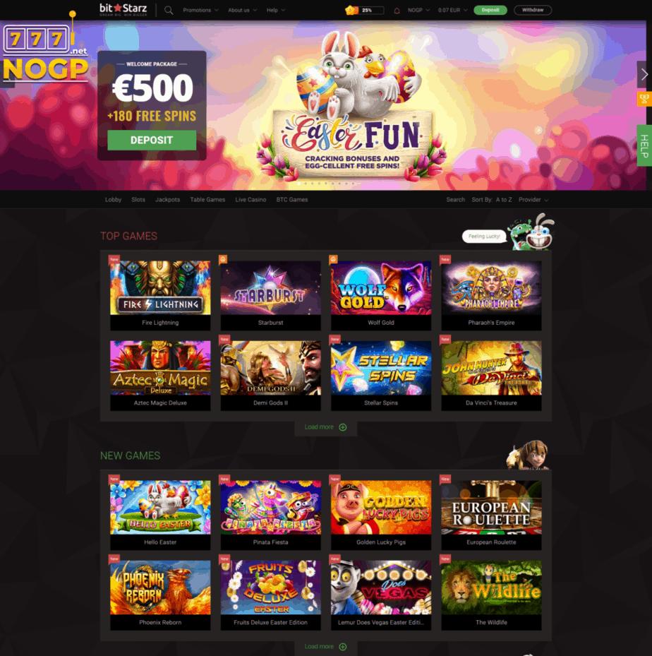 Bitstarz casino homepage screenshot