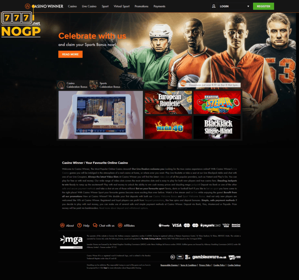Casino Winner homepage screenshot