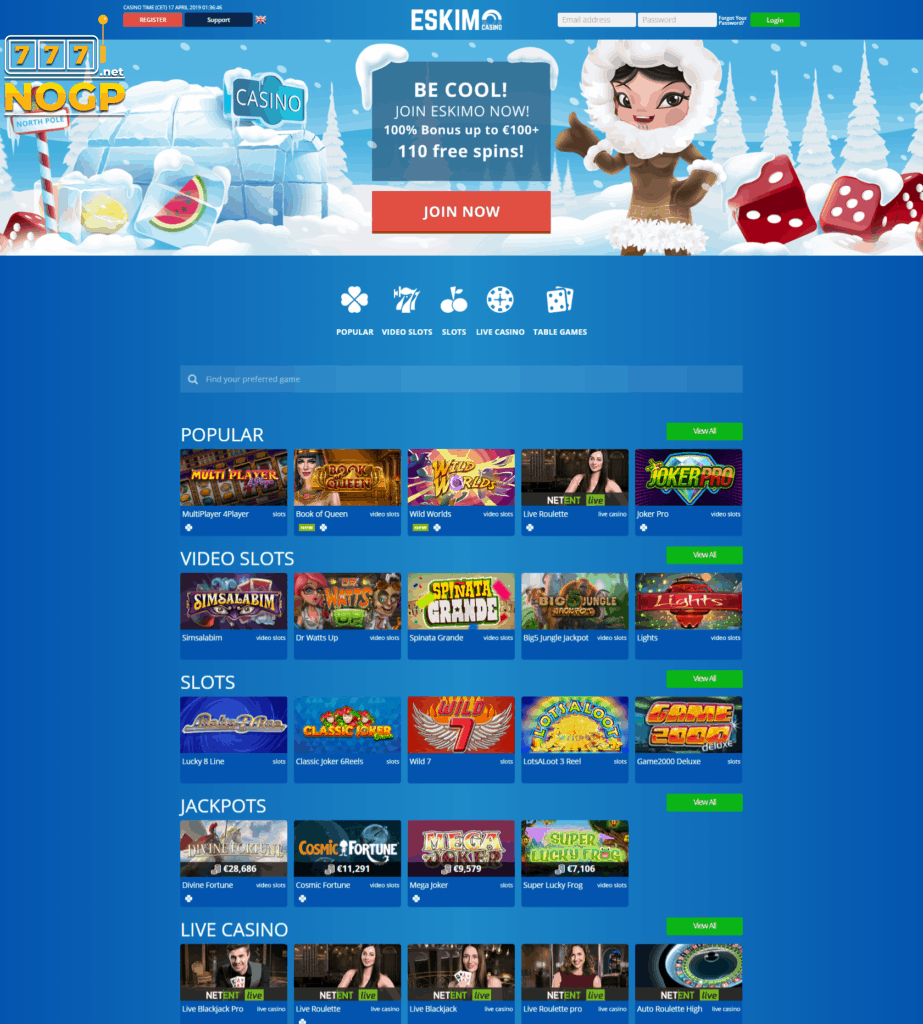 Eskimo Casino homepage screenshot