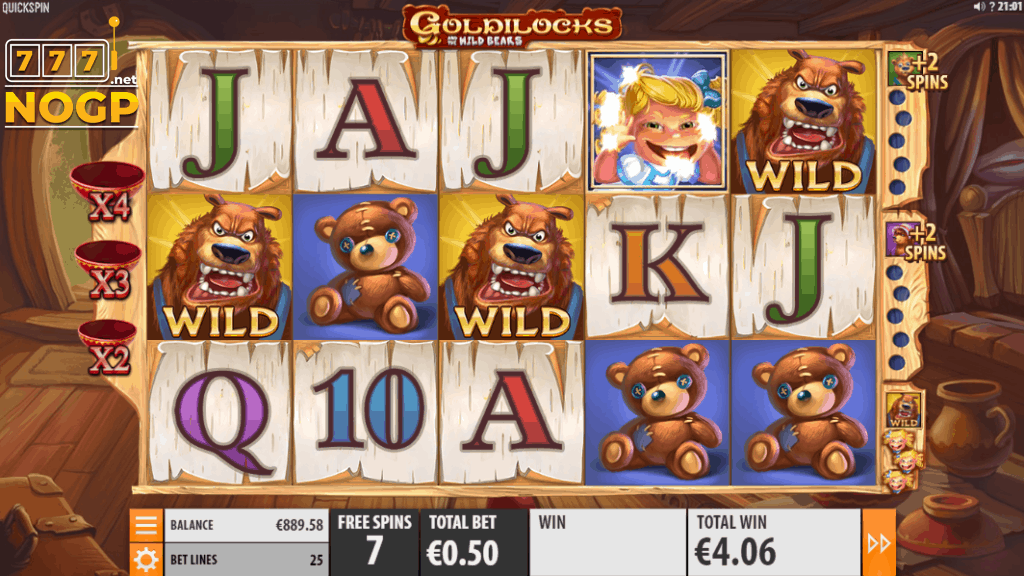 Goldilocks and the Wild Bears video slot - Gratis spins feature