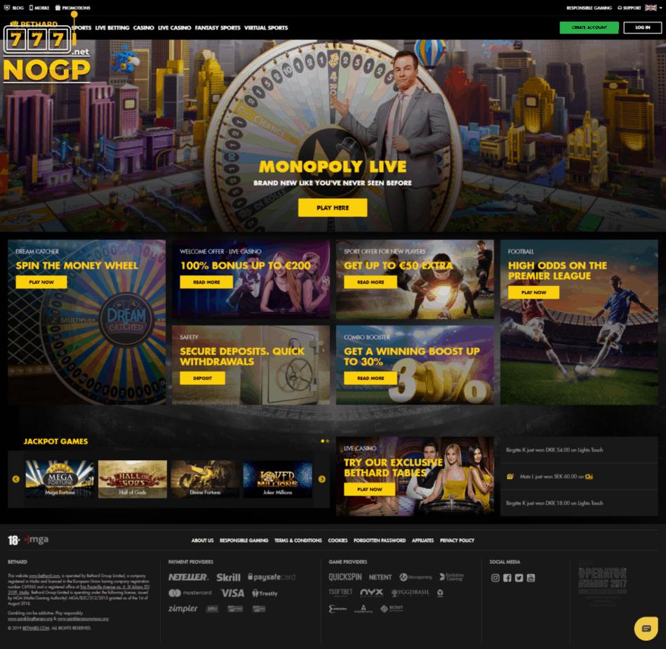 Bethard screenshot homepage