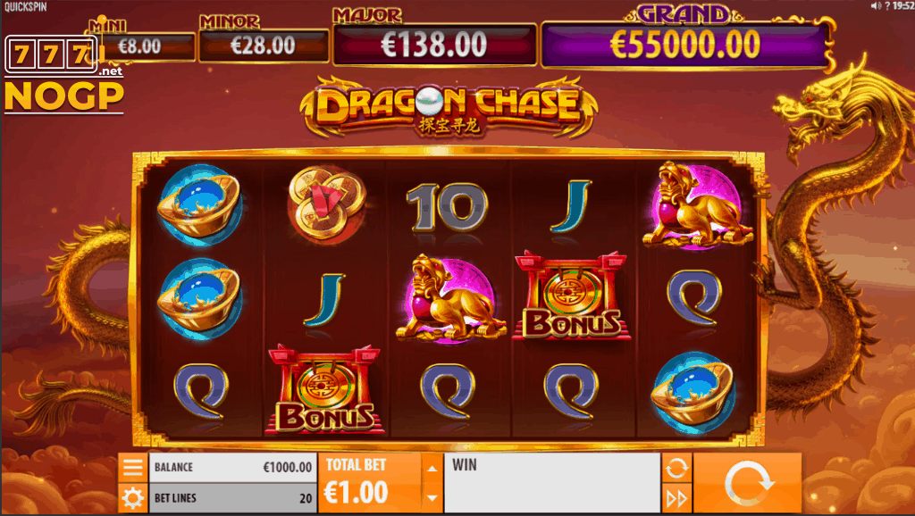 Quickspin's Dragon Chase video slot - Screenshot