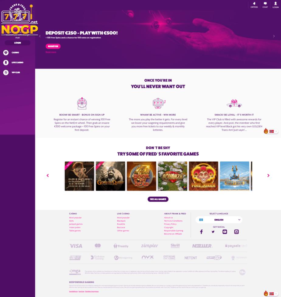Frank & Fred Casino homepage screenshot