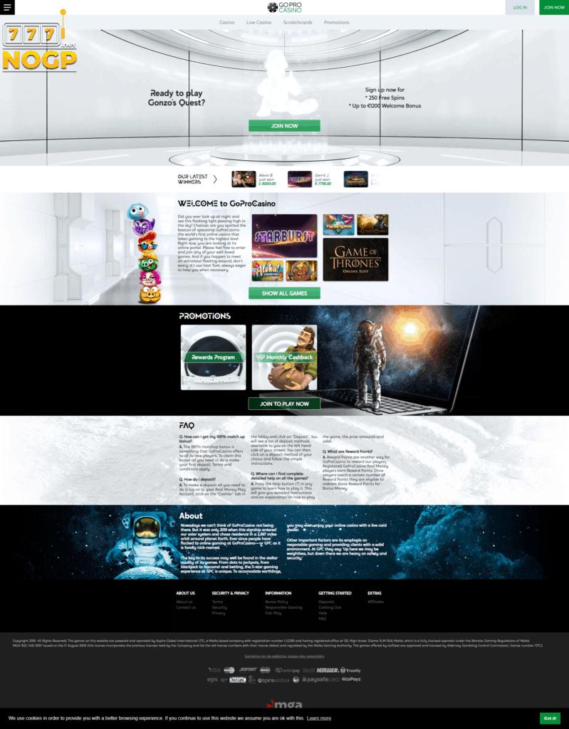 GoProCasino homepage