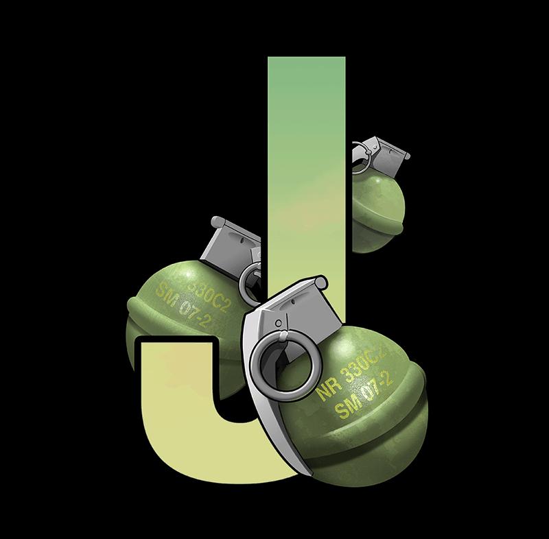 Narcos video slot - J symbol