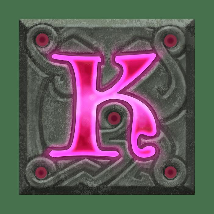 Ravens Eye video slot - K symbol