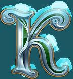 Rise of Merlin video slot - K symbol