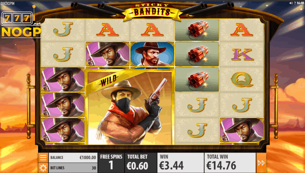 Sticky Bandits video slot - Gratis spins feature