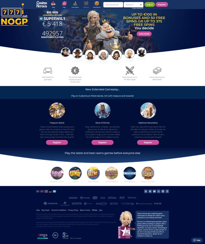 Casino Heroes homepage screenshot