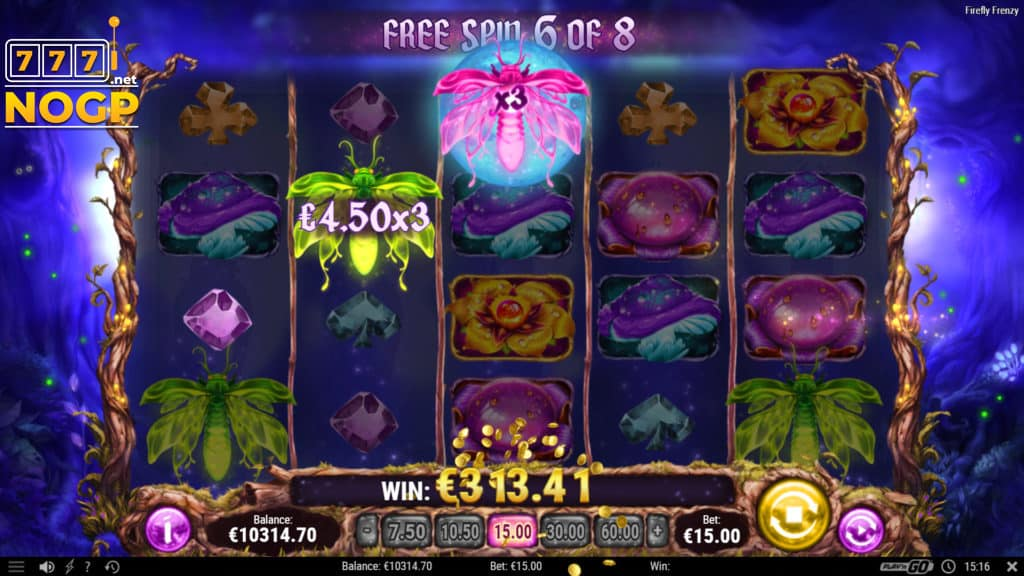 Firefly Frenzy slot - Gratis spins feature