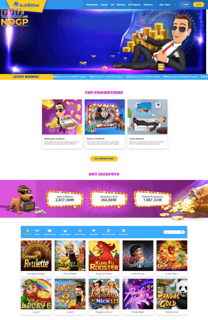 Jackmillion Casino homepage screenshot