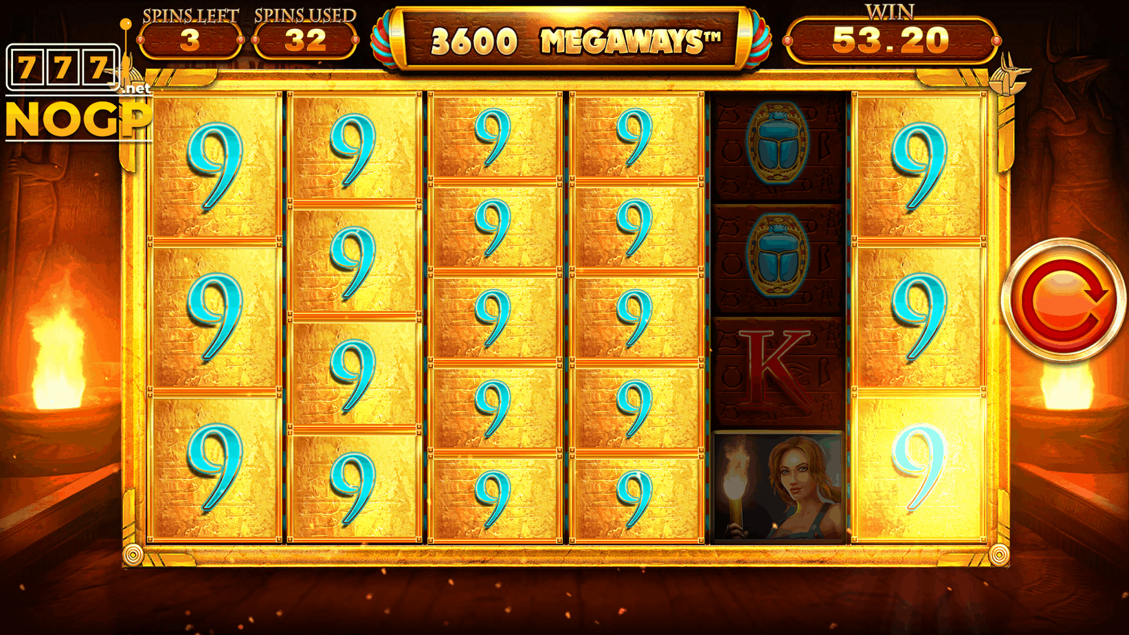 Legacy of Ra Megaways slot - Gratis spins feature