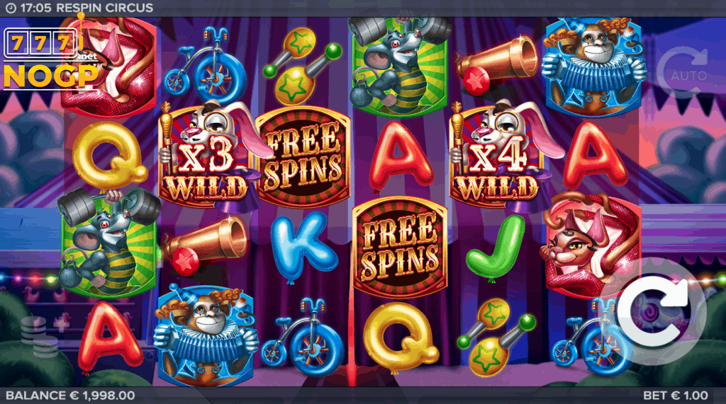 Respin Circus video slot screenshot