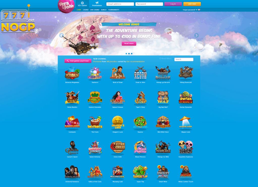 Part of the homepage of Vera & John Casino