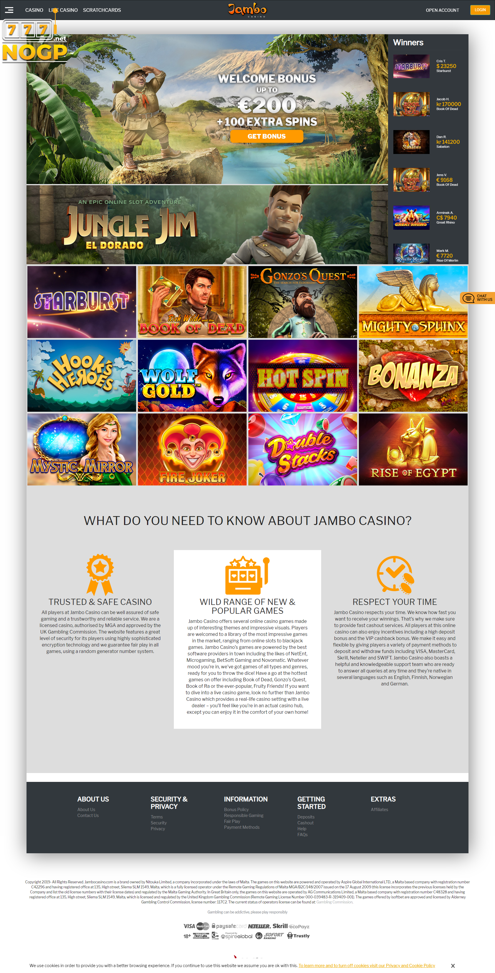 Jambo Casino screenshot