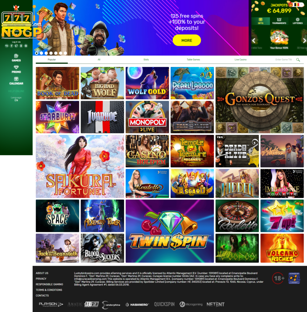 Lucky Bird Casino homepage screenshot