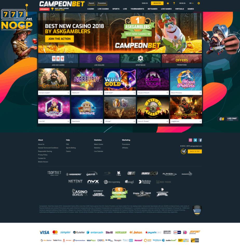 CampeonBet homepage