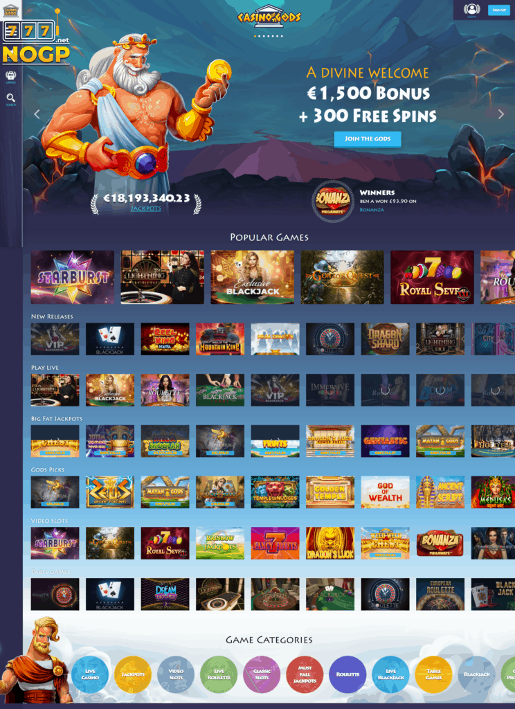 Casino Gods homepage part