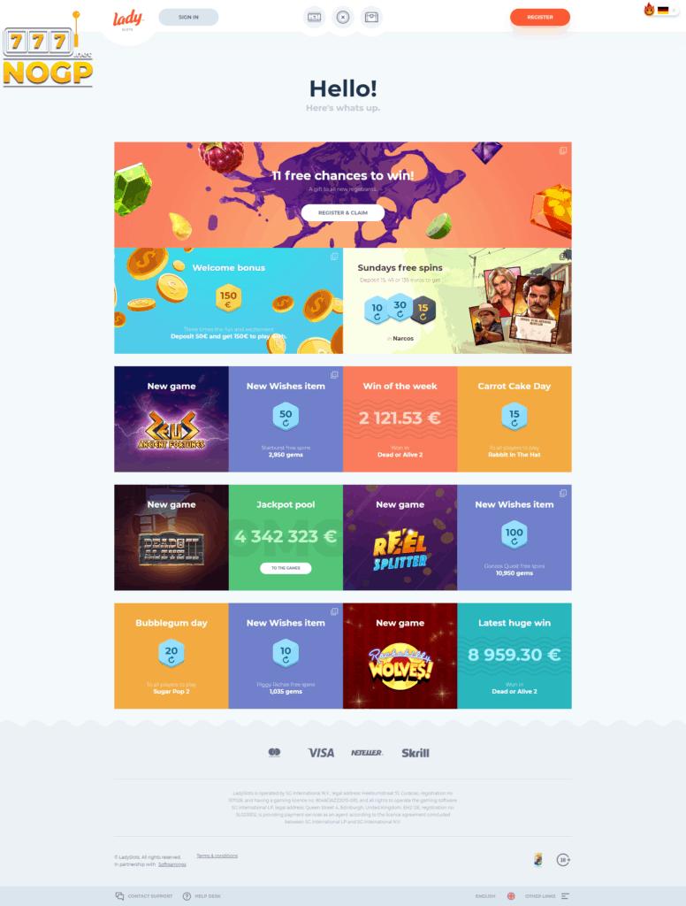 Ladyslots homepage screenshot
